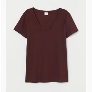 H&M NEW V-neck Jersey top size M Plum Red